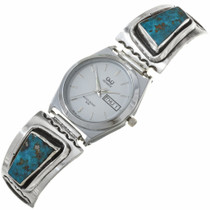 Turquoise Silver Navajo Mens Watch Tips 30309