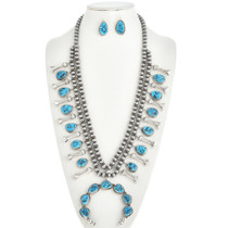 Natural Kingman Turquoise Squash Blossom Necklace and Earrings