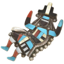 Old Pawn Inlaid Zuni Rainbow Man Ring 30375