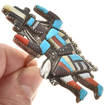 Sterling Inlaid Zuni Rainbow Man Ring 30375