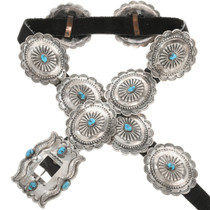 Old Pawn Natural Kingman Turquoise Concho Belt 0060