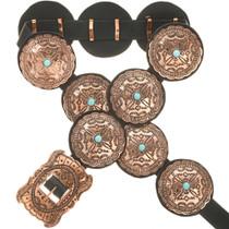 Turquoise Copper Concho Belt 1865