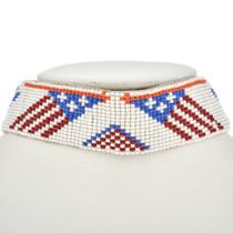 Vintage Beaded Buckskin Indian Choker Patriotic Eagle Flag Pattern 30440