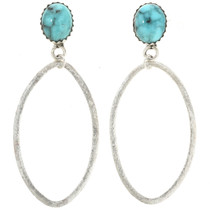 Genuine Turquoise Stud Dangle Earrings 30453