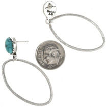 Navajo Brushed Silver Open Hoop Turquoise Earrings 30453