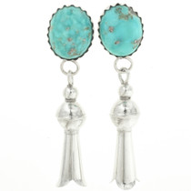 Turquoise Silver Squash Blossom Earrings 30455