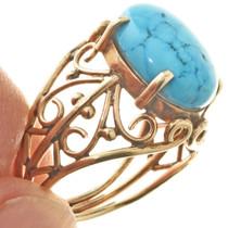 Filigree Design Turquoise 18K Gold Ladies Ring 30459