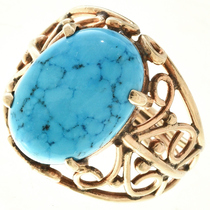 Vintage Blue Turquoise 18K Gold Ladies Ring 30459