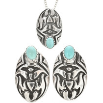 Turquoise Silver Thunderbird Pendant Set With Post Earrings 30461