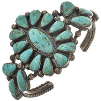 Old Pawn Turquoise Silver Cluster Cuff Sterling Handmade Bracelet 30468