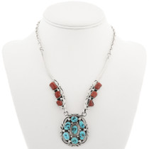 Vintage Turquoise Coral Navajo Necklace 30492