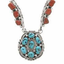 Sterling Silver Coral Turquoise Necklace 30492