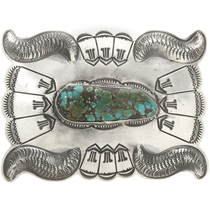 Spiderweb Turquoise Silver Belt Buckle 0017