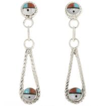 Zuni Sunface Turquoise Post Dangle Earrings 30519