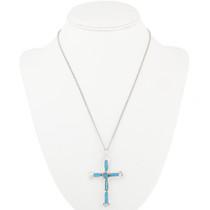 Zuni Turquoise Silver Cross Pendant 30524