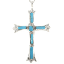 Sterling Silver Cross Turquoise Pendant 30524