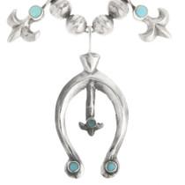 Native American Fleur de Lis Squash Blossom Turquoise Necklace 30529