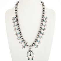 Old Pawn Turquoise Squash Blossom Necklace 30529