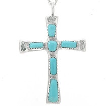 Turquoise Silver Cross Pendant 30530