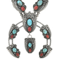 Native American Turquoise Squash Blossom Necklace 30531