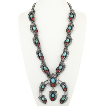 Large Turquoise Coral Squash Blossom Necklace 30531