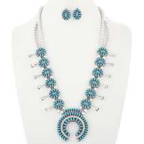 Turquoise Coral Squash Blossom Necklace 30532