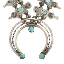 Turquoise Silver Navajo Indian Necklace 30535