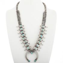 Vintage Turquoise Squash Blossom Necklace 30535
