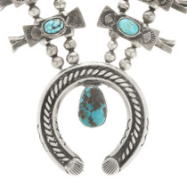 Vintage Turquoise Squash Blossom Necklace With Bisbee Stones 30537