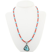 Navajo Turquoise Silver Pendant With Bead Necklace 30565
