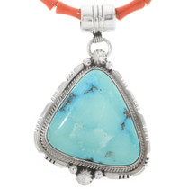 Sleeping Beauty Turquoise Sterling Pendant With Bead Necklace 30567
