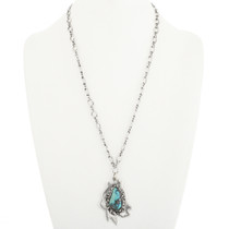 Natural Turquoise Silver Pendant With Chain 30596