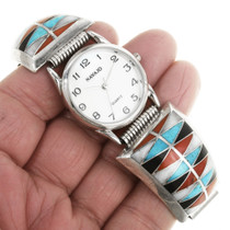 Zuni Tribe Turquoise Inlay Sterling Silver Watch 30604