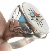 Inlaid Signet Ring Zuni Zia Sunface 30626