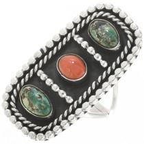 Vintage Turquoise Coral Silver Navajo Ladies 1920s Style 30643