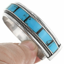Inlaid Turquoise Silver Cuff Bracelet 30665