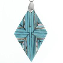 Inlaid Diamond Turquoise Pendant 30672