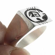Sterling Silver Overlay Bear Hopi Ring 30681
