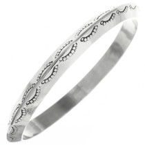 Vintage Navajo Hammered Silver Bangle Sterling Bracelet 30685
