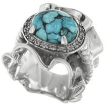 Vintage Spiderweb Turquoise Ladies Ring 30688