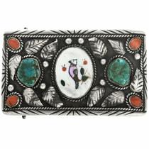 Old Pawn Navajo Handmade Bird Inlay Belt Buckle 30712