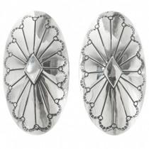 Vintage Pueblo Silver Concho Western Earrings 30723