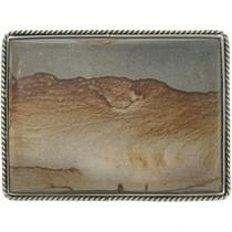 Vintage Picture Jasper Silver Belt Buckle 30738