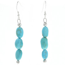 Natural Turquoise Silver Navajo Earrings 30756