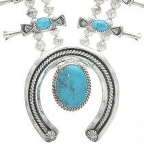 Turquoise Silver Native American Necklace 30936