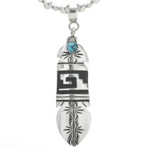 Navajo Turquoise Silver Feather Pendant 30964
