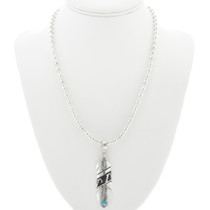 Navajo Made Turquoise Feather Pendant 30966
