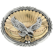 Vintage Gold Silver Eagle Belt Buckle 30979