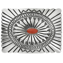 Old Pawn Coral Silver Belt Buckle