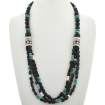 Native American Onyx Turquoise Necklace 31009